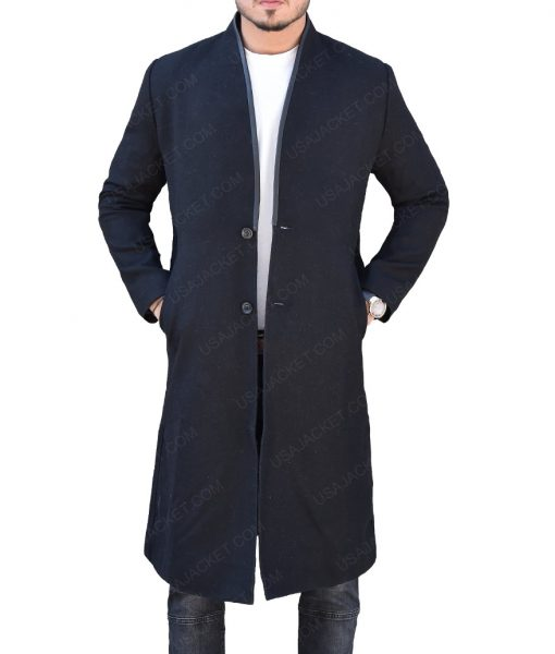 John Pilgrim The Punisher Josh Stewart Black Wool Trench Coat