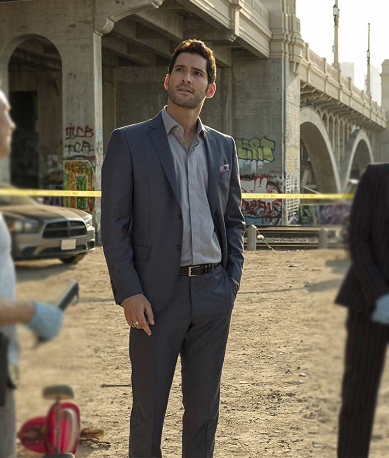 Lucifer Morningstar Is That A Stage Name: Lucifer Morningstar Grey Suit