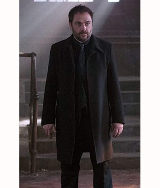 Supernatural TV Series Crowley Black Wool Coat