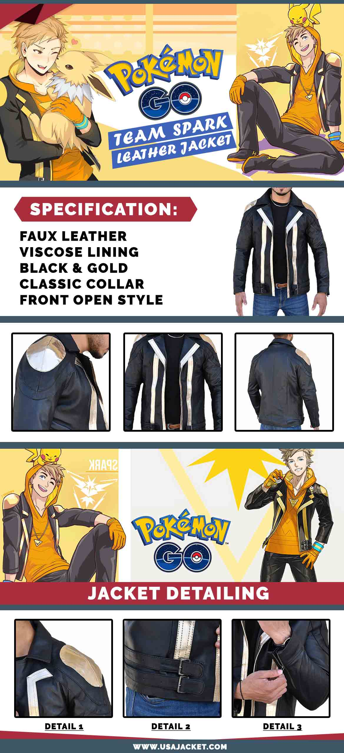 Pokemon Go Team Instinct Spark Black Leather Jacket Infographic