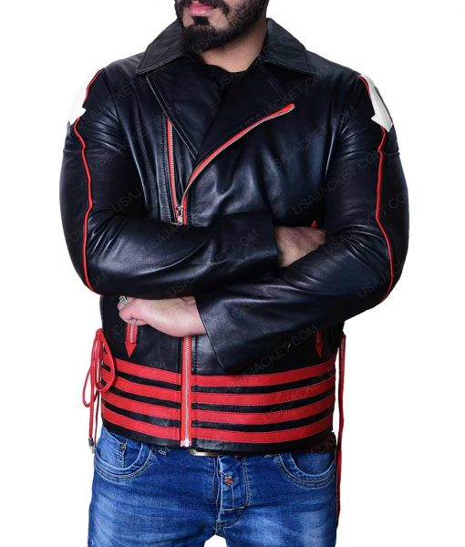 Rami Malek Red and Black Leather Jacket