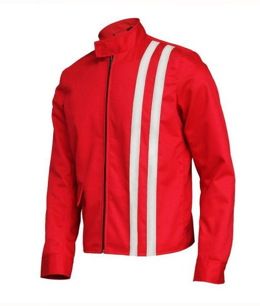 Elvis Presley Speedway Red Cotton Jacket With White Stripes
