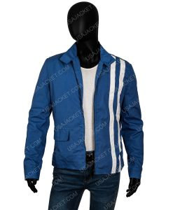 Speedway Elvis Presley Blue Cotton Jacket With White Stripes