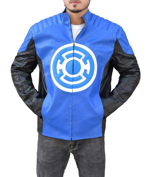 Blackest Night Barry Allen Blue Lantern Leather Jacket