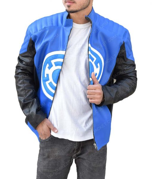 The Flash Blackest Night Barry Allen Blue Lantern Leather Jacket