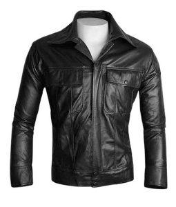 The King of Rock N Roll Elvis Presley Black Leather Jacket