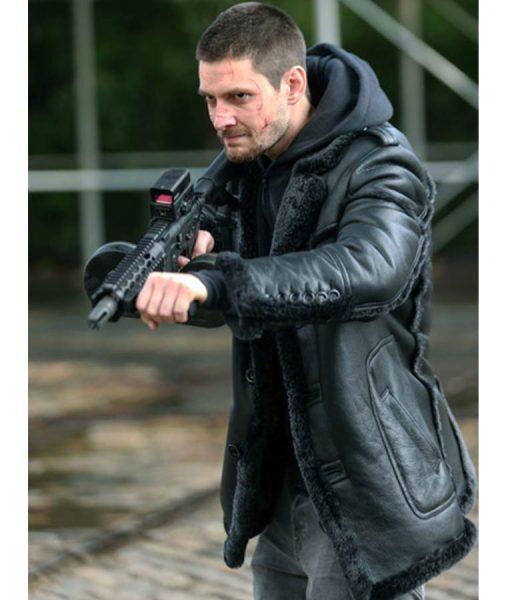 Billy Russo The Punisher 2 Ben Barnes Black Shearling Coat