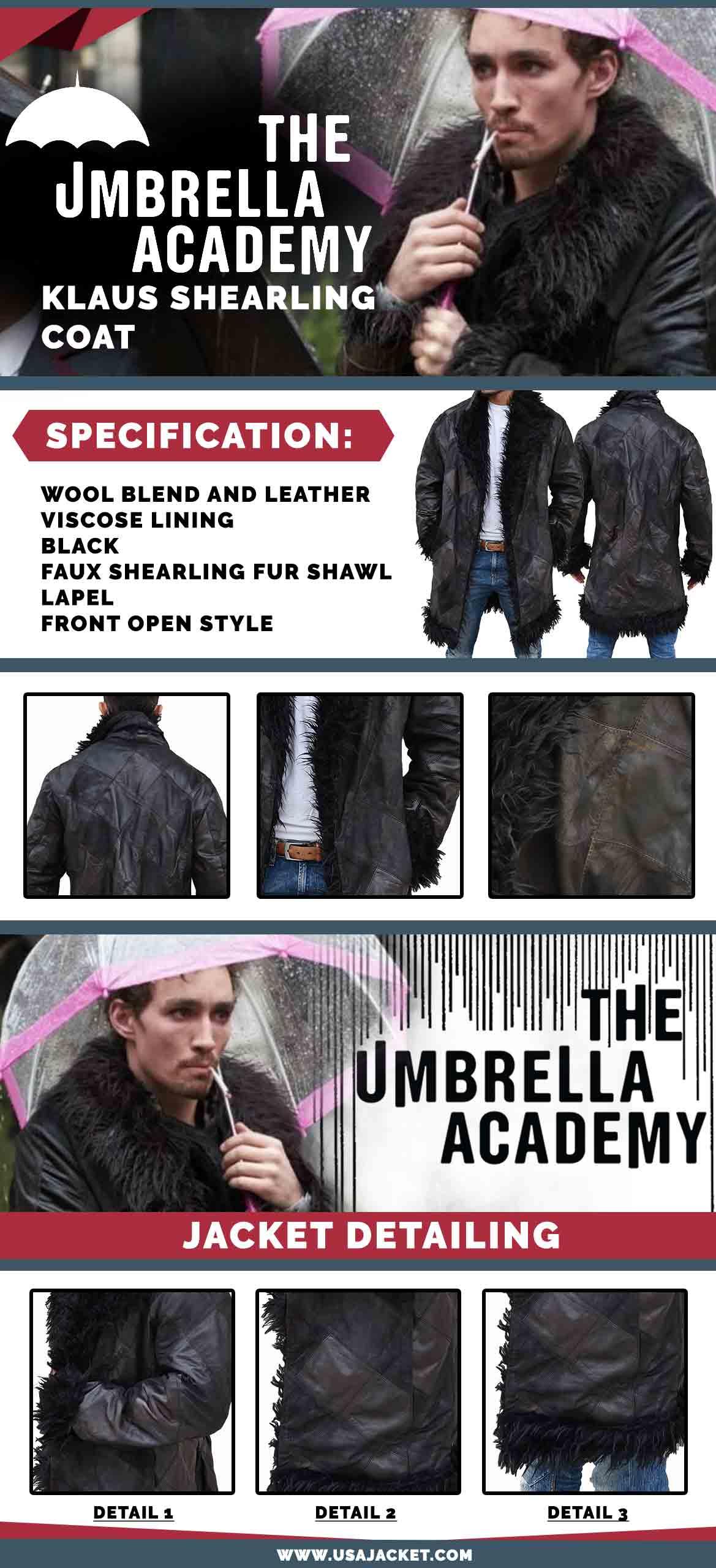 The Umbrella Academy Klaus Shearling Coat Infographi