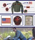 Tom Cruise Top Gun 2 Maverick Bomber Patched Leather Jacket