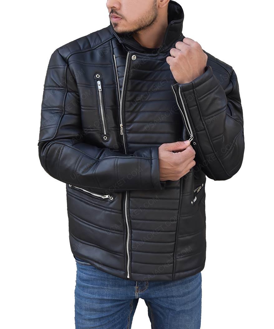 0c5eee37fc85 Cold Pursuit Tom Bateman Padded Shoulders Black Leather Jacket