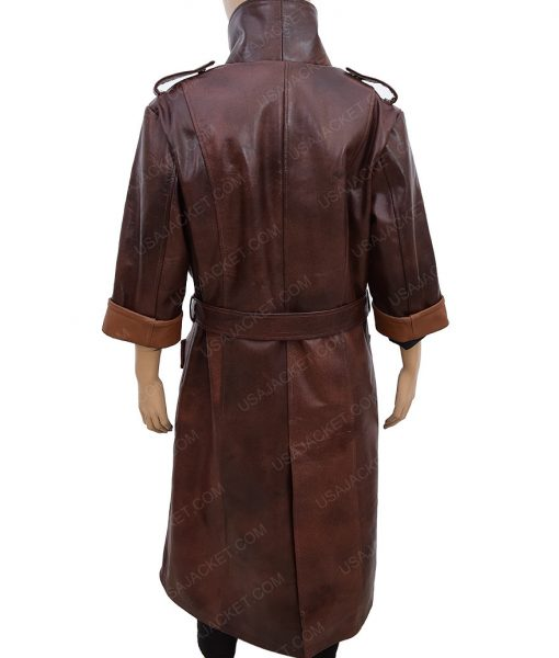 Piper Wright Dark Brown Leather Trench Coat