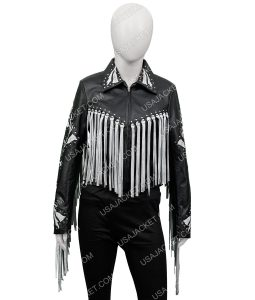 harley Quinn Black and Silver Fringe Jacket