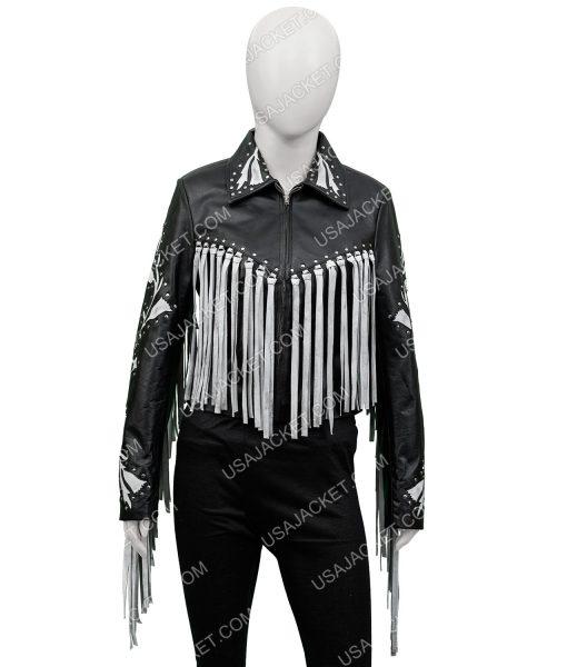 harley Quinn Black and Silver Fringe Jacket
