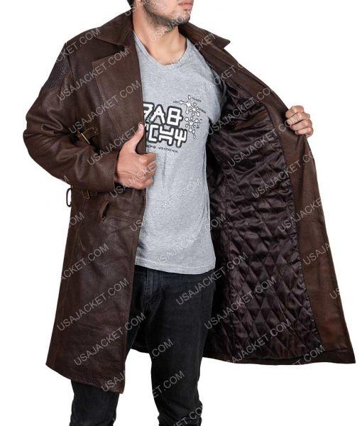 Alita Battle Angel Christoph Waltz Leather Coat