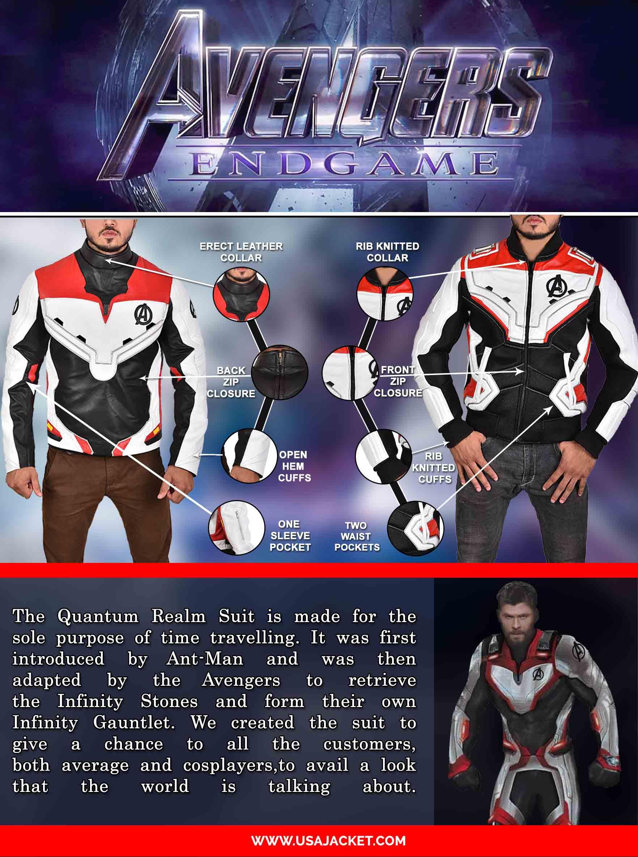 Avengers Endgame Quantum Realm Jacket Infographic