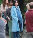 Sandra Bullock blue coat