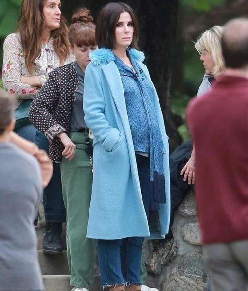 Sandra Bullock blue coat