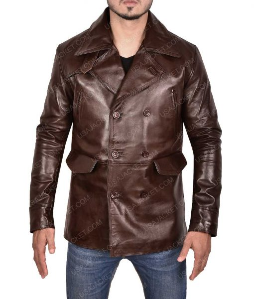 Brad pitt leather Pea Coat