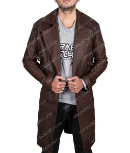 Dr. Dyson Ido Distressed Brown Leather Coat