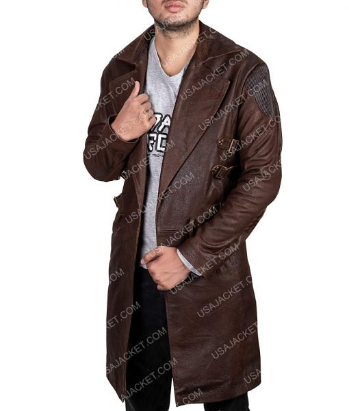 Dr. Dyson Ido Alita Battle Angel Brown Leather Trench Coat