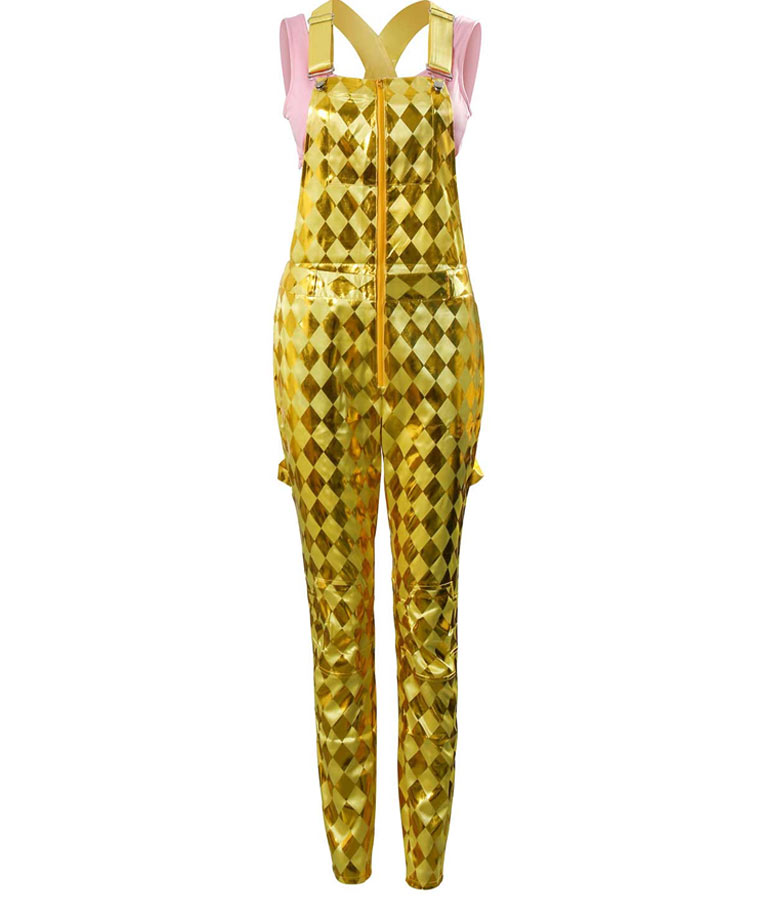 Birds Of Prey Harley Quinn Golden Romper Shiny Jumpsuit