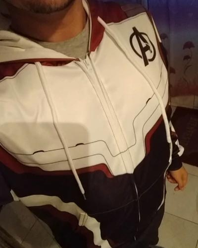 White and Maroon Quantum Hoodie