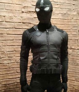 Spidermna Black Leather Jacket