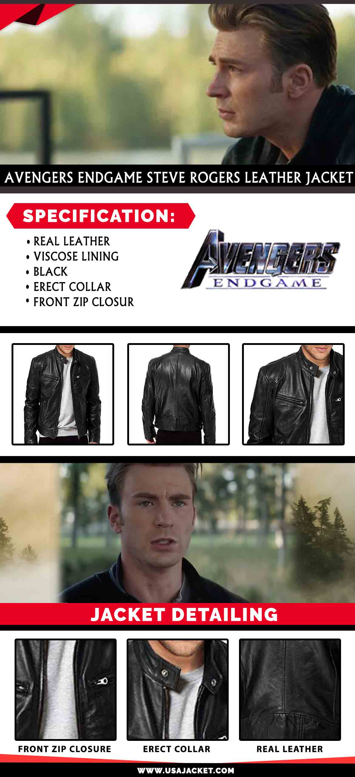 Avengers Endgame Steve Rogers Leather Jacket Infography