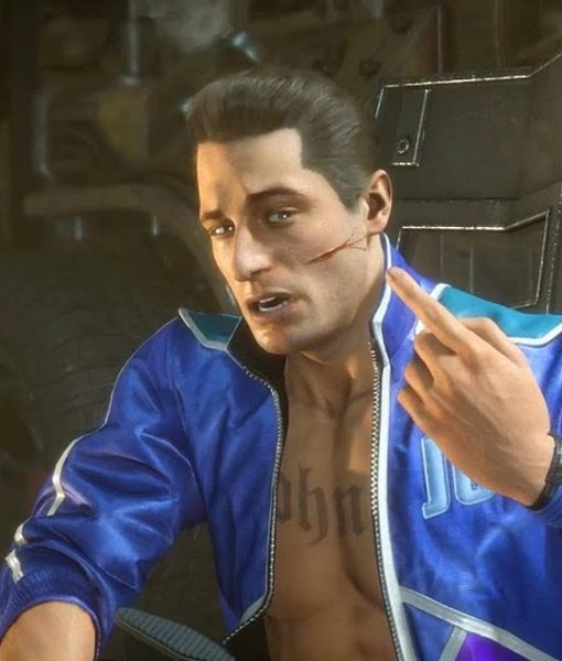 Johnny Cage Video Game Kombat 11 Blue Leather Jacket