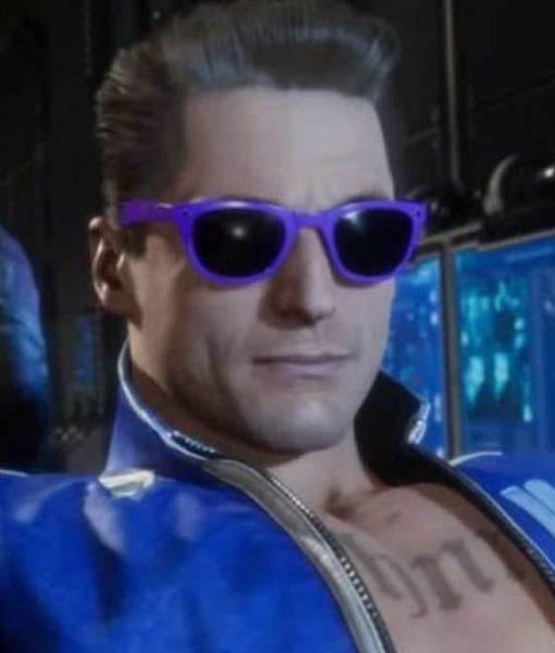 Johnny Cage Mortal Kombat 11 Blue Leather Jacket