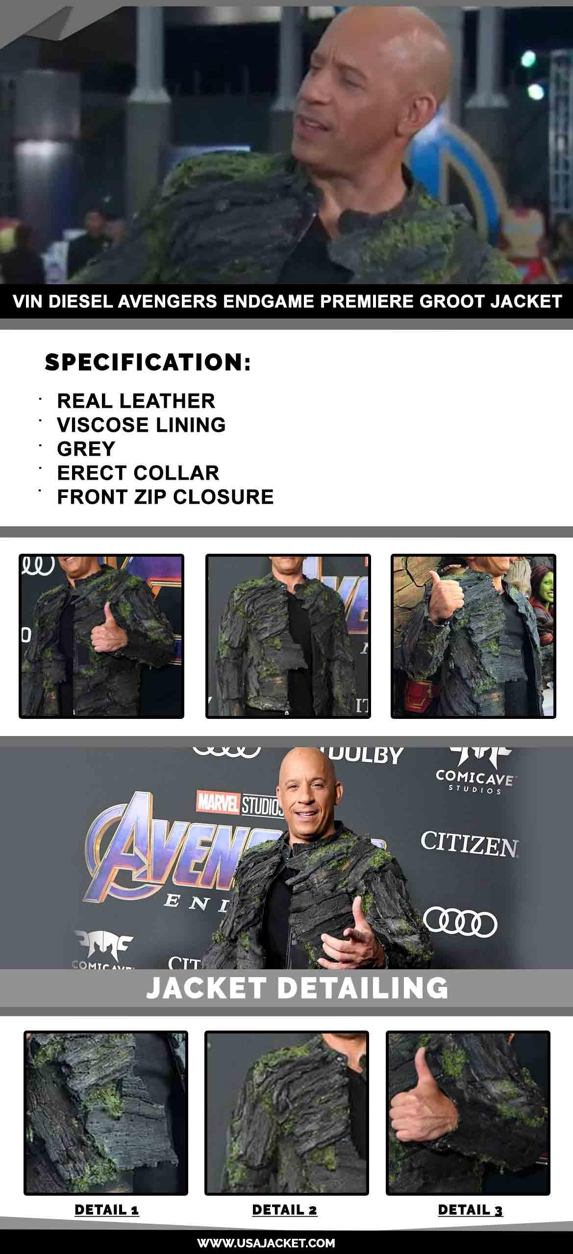 Vin Diesel Avengers Endgame Premiere Groot Jacket
