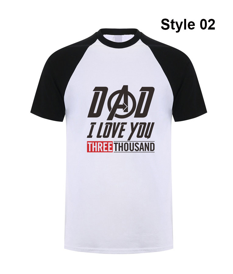 DAD I LOVE YOU 3000 THOUSAND T-SHIRT BLACK TONY STARK IRON MAN ENDGAME