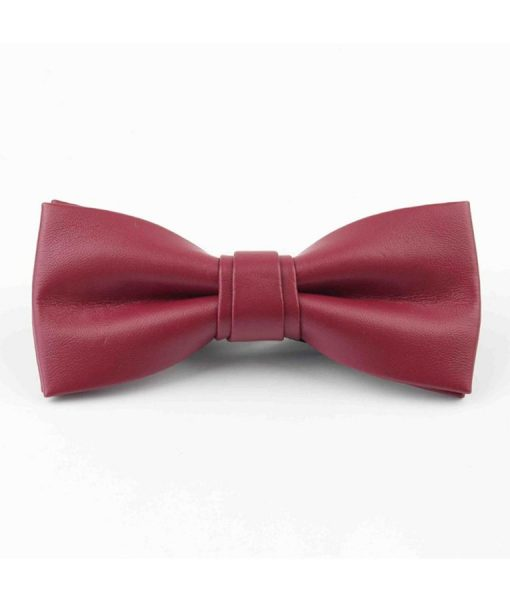Maroon-Leather-Butterfly-Tie