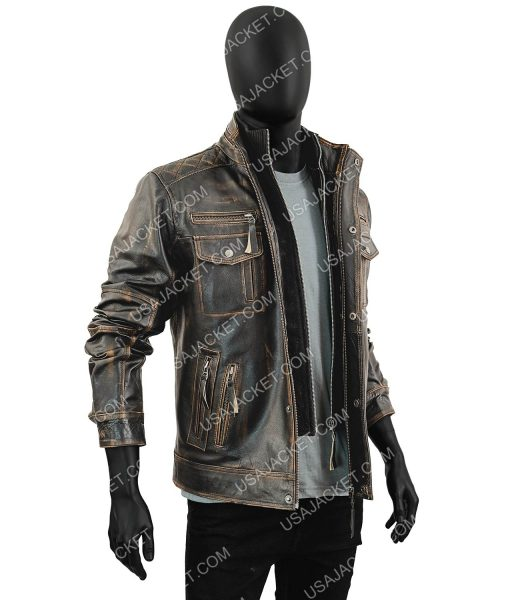 Mens Motorcycle Vintage Distressed Brown Cafe Racer Leather Jacket