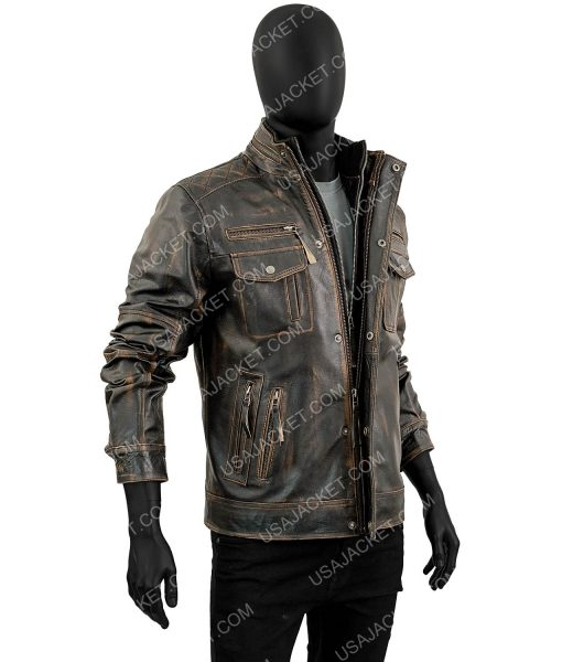 Mens Biker Vintage Distressed Brown Cafe Racer Leather Jacket