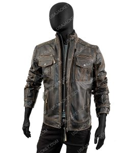 Mens Motorcycle Double Breasted Stud Detailing Leather Jacket