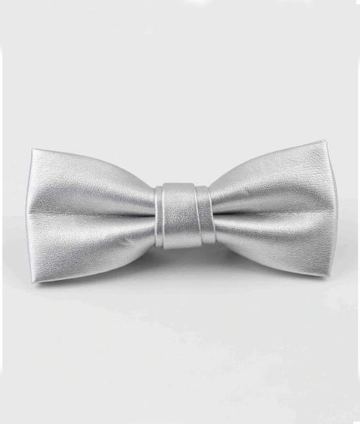 Sliver-Leather-Bow-Tie