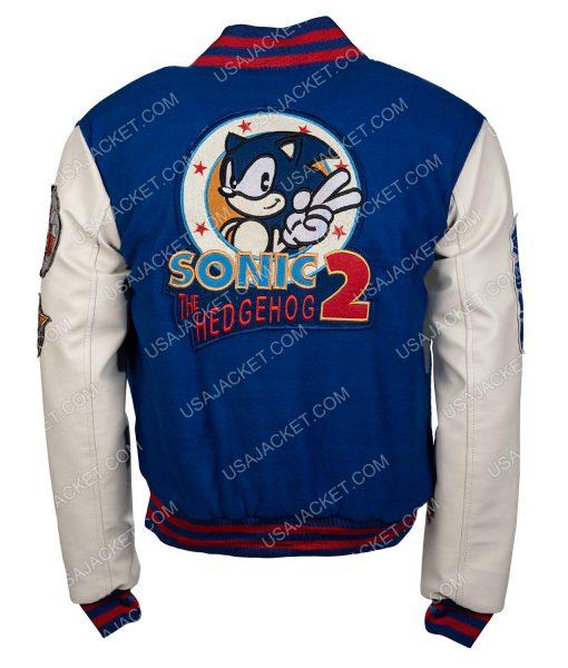 Sonic Hedgehog Blue and White Varsity Jacket