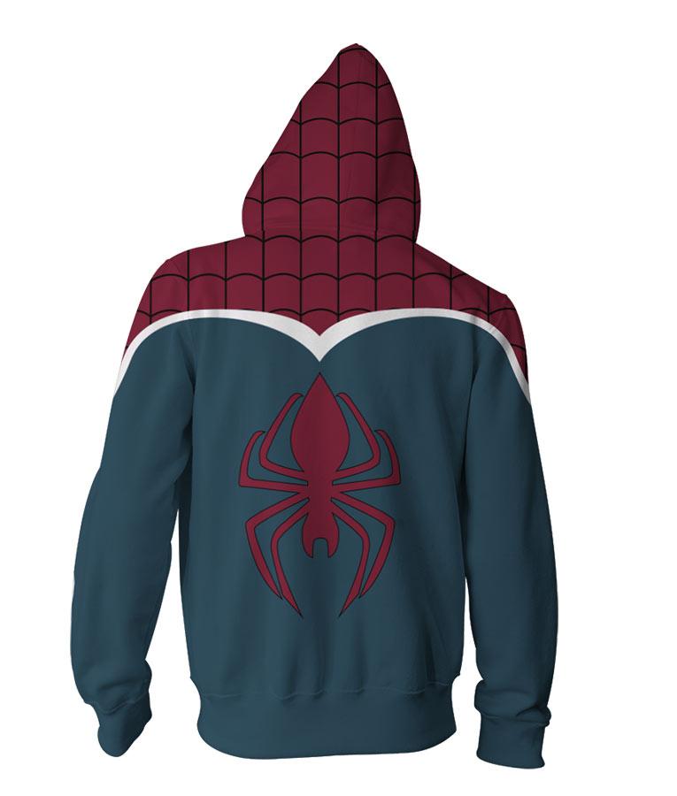 Mens Famouse Super Hero Spider-Man Logo Zip Up Hoodie Jacket