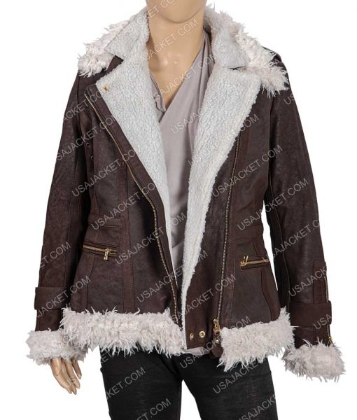 Brown Shearling Leather Jacket For Womens