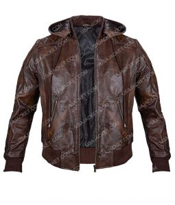 Mens Motorcycle Leather Jacket With Hood