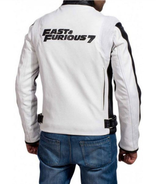 Vin Deisel Fast and Furious 7 White Racer Jacket