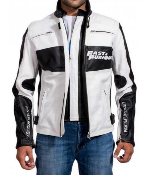 Fast and furious 7 Vin Diesel White and Black Jacket