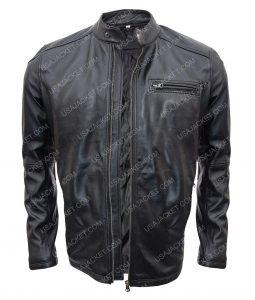 Gerard Butler Black Leather Jacket