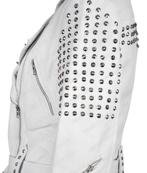 White Leather pam Studded Cropped Jacket