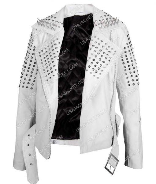 Kristin Bauer van Straten True Blood White Spiked Motorcycle Jacket