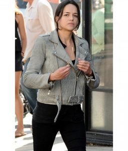 fast and Furious 8 Michelle Rodriguez Distressed Leather Jacket