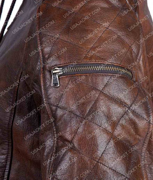 Distressed Brown Motorcycle Hood Jacket
