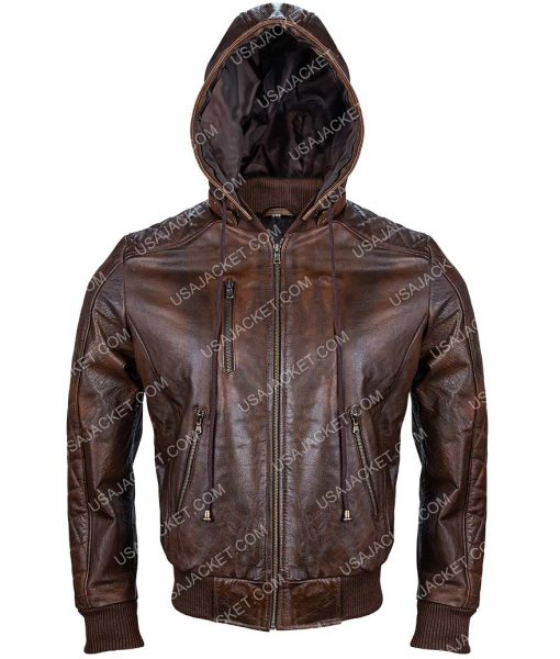 Mens Brown Leather Quilted Jacket