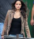 Michelle Rodriguez Sand Brown Leather Jacket